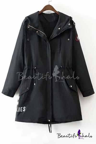 Buy Fall Winter Hooded Drawstring Waist Zipper Letter Print Wind Coat Long Sleeve