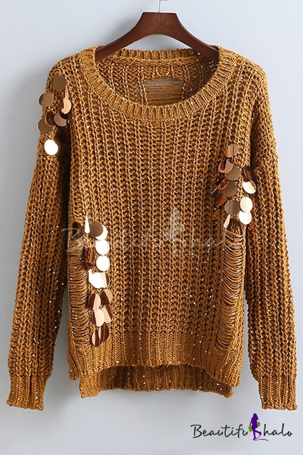 Buy Fashion Sequined High Low Trim Ladder-Back Knitted Sweater Round Neck Long Sleeve