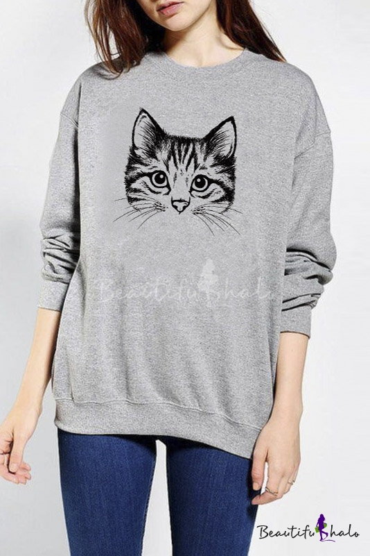 Buy Cute Cat Print Long Sleeve Loose Pullover Casual Women's Sweatshirt