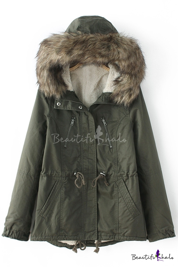 Buy Women's Fur Hooded Long Sleeve Parka Coat Lambswool Utility