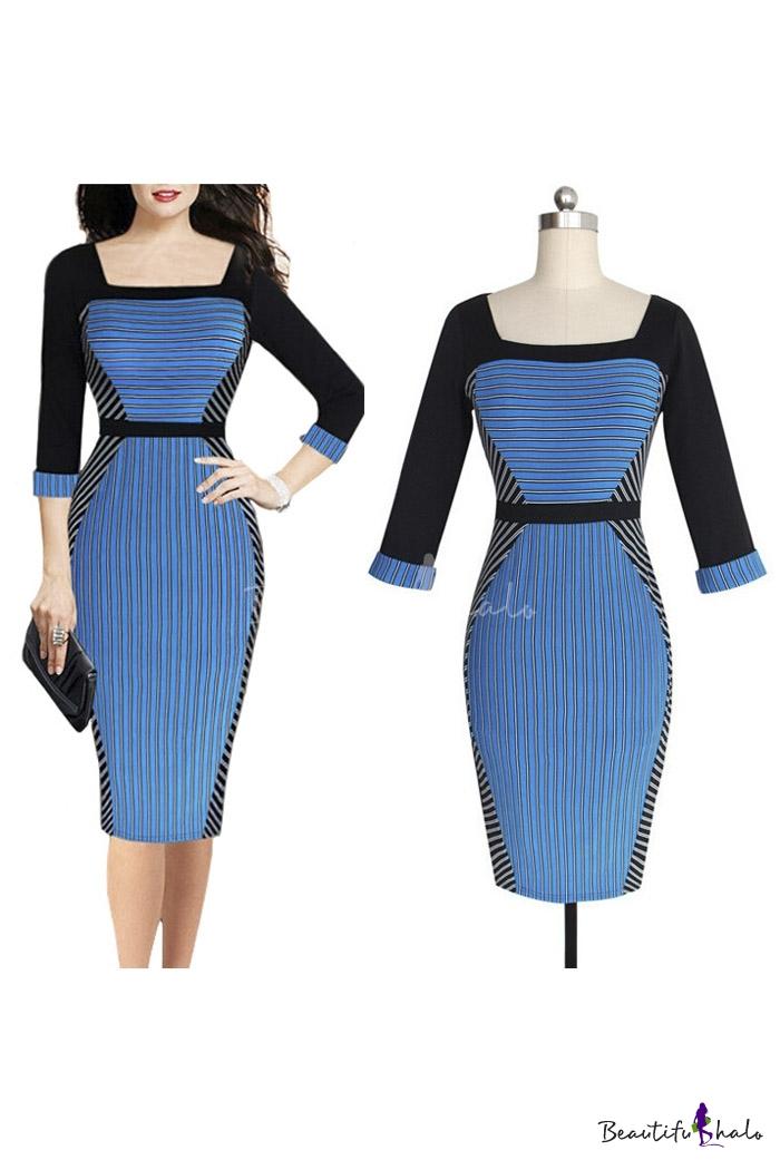 Buy Fashion Striped Color Block Squared Neck Half Sleeve Zip-Back Midi Pencil Dress