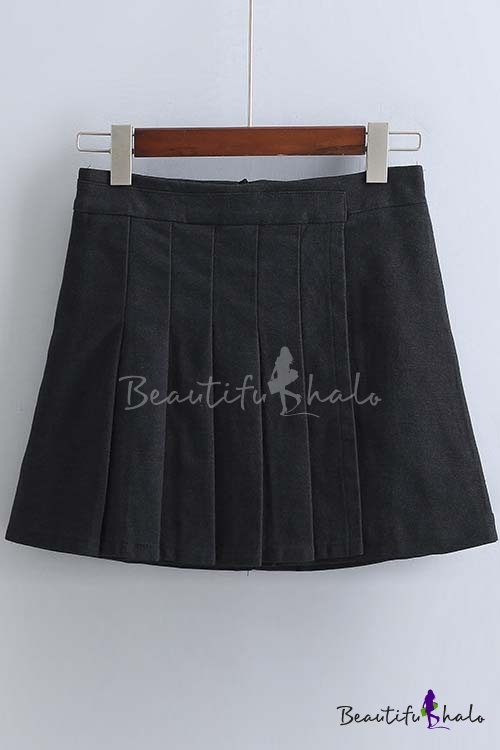 Buy High Rise Preppy Style Women's Pleated A-Line Mini Skirt