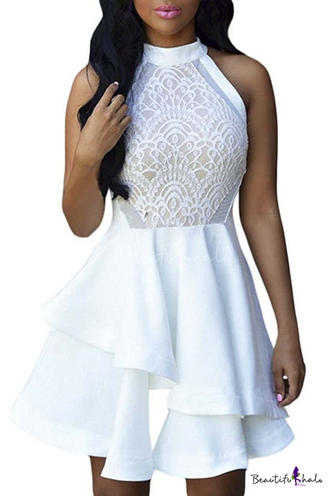 Buy Womens Floral Lace Chiffon Mesh Skater Pleated Party Casual Dress