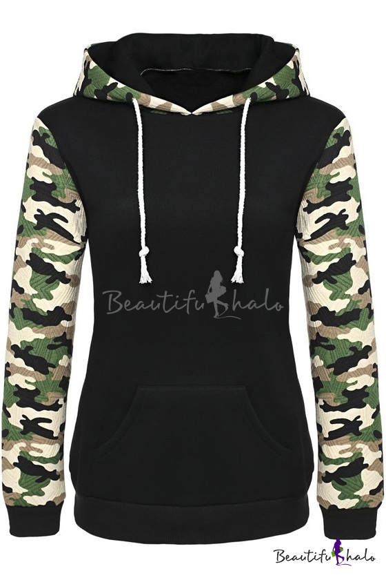 Buy Women's Camouflage Printed Long Sleeve Hooded Pullover Hoodies Sweatshirt