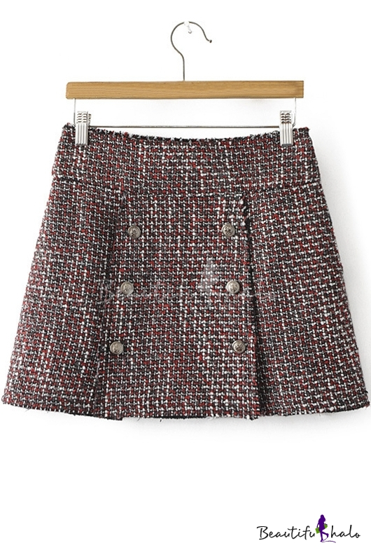 Buy Women's Winter New Style Plaid Print Double Breasted A-Line Mini Skirt