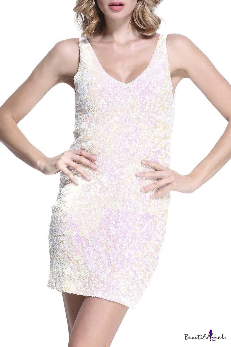 Buy Women's Sexy Deep V Neck Sequin Glitter Bodycon Stretchy Mini Party Dress