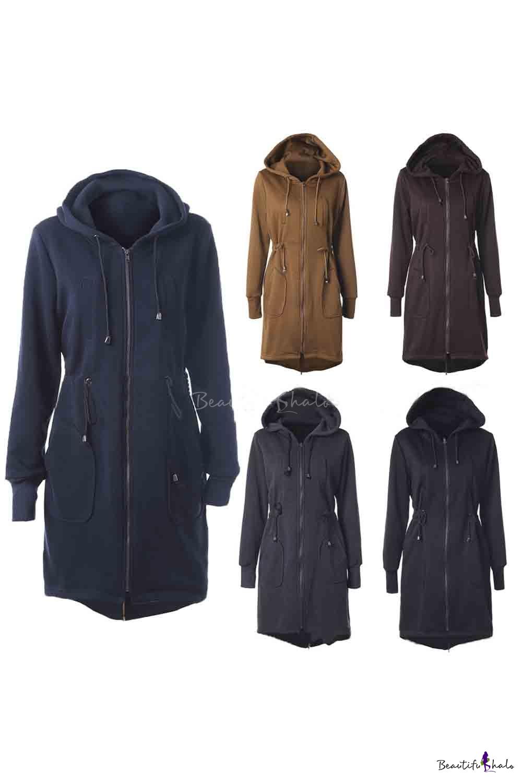 Buy Women's Zip Long Hoodies Sweatshirt Tunic Hooded Jacket Coat