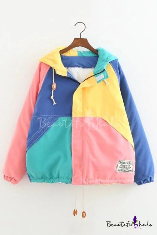 Buy Women's Color Block Zip Placket Long Sleeve Winter Hooded Cotton Coat