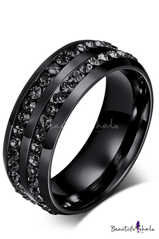 Buy Unisex Crystal Double Insert Black Titanium Steel Ring