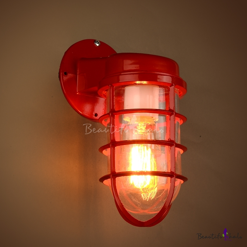 Industrial 1-Light Red Finish Metal Frame Hallway Wall Sconce - Beautifulhalo.com