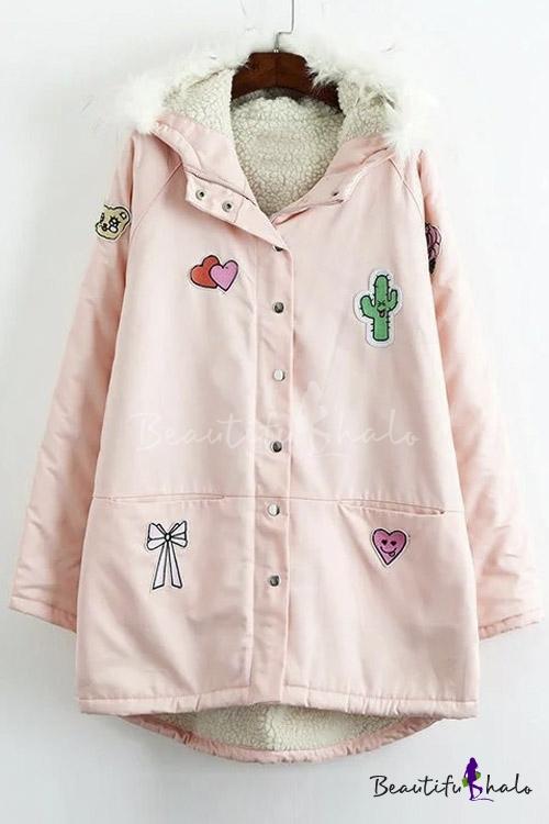 Buy Pink Single Breasted Dip Hem Hooded Coat Cute Cartoon Patchwork