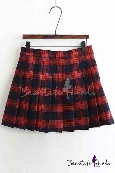 Buy Women's Sweet Preppy Style Plaid A-Line Pleated Mini Skirt