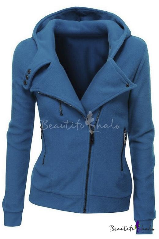 Buy Women Slim Fit Fleece Zip-up Hoodie Jacket Zipper Point