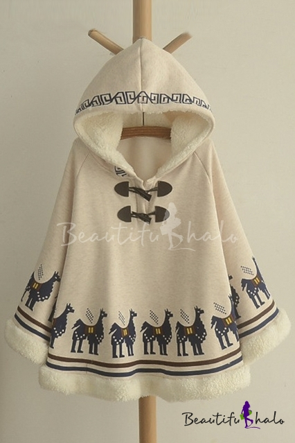 Buy Women's Animal Print Long Sleeve Winter's Warm Hooded Cape Coat