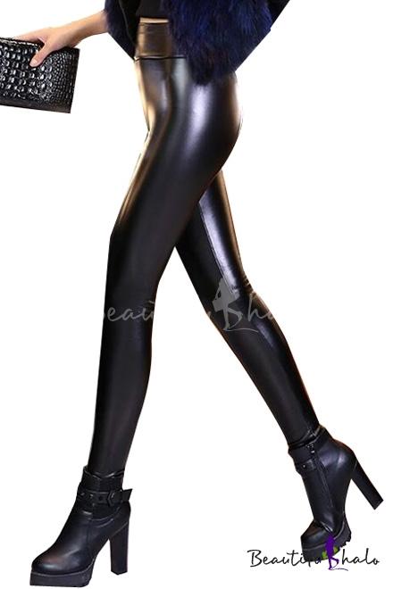 Buy Women's Fashion High Waist PU Leggings Plain Oversize Basic