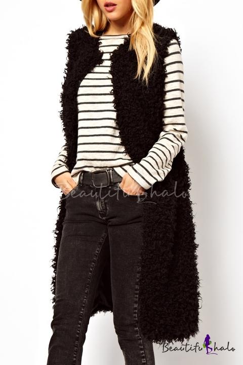 Buy Fashion Open-Front Sleeveless Plain Faux Fur Tunic Vest