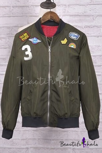 Buy Army Green Badge Detail Stand-up Collar Jacket