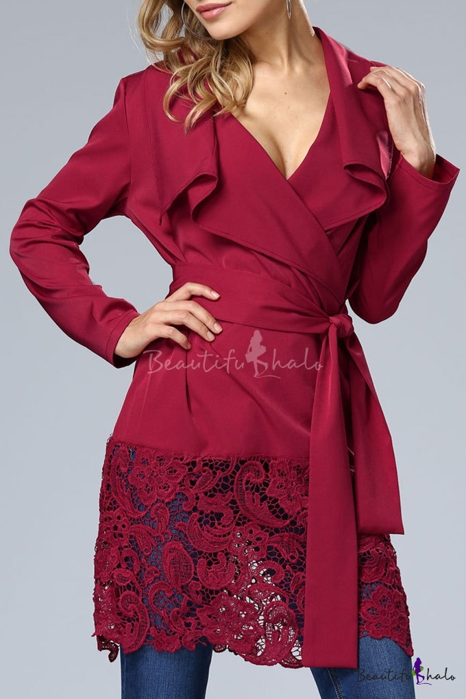Buy Lapel Lace Hem Tied Waist Long Sleeve Plain Coat