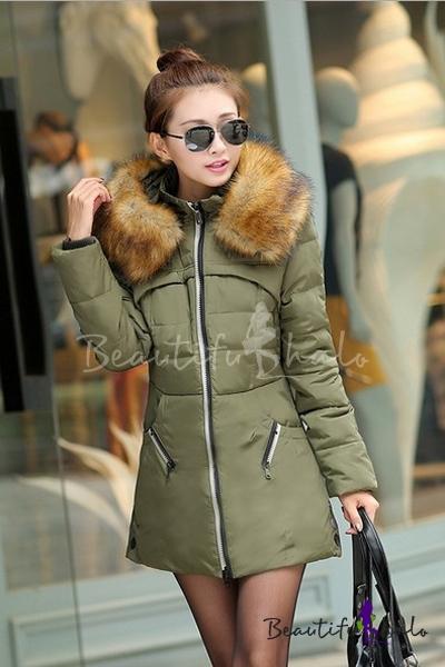 Buy Women's Zip Placket Fur Collar Winter Warm Padded Coat Outerwear