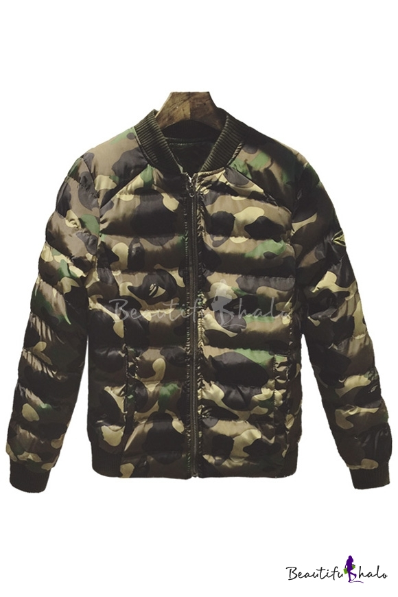 Buy Women's Fashion Camouflage Print Cotton Jacket Winter's Warm Padded Quilted Coat