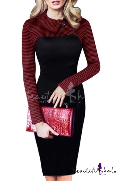 Buy Women's Fashion Long Sleeve Collared Plaid Print Color Block Pencil Midi Dress