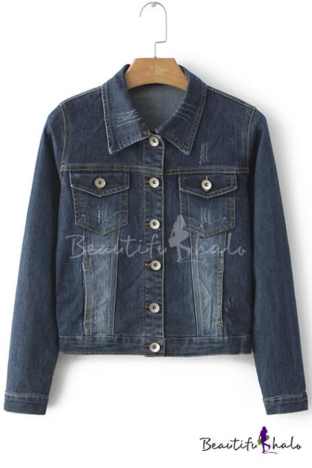 Buy Womens Fashion Juniors Long Sleeve Loose Cowboy BF Denim Jacket Coat Pockets