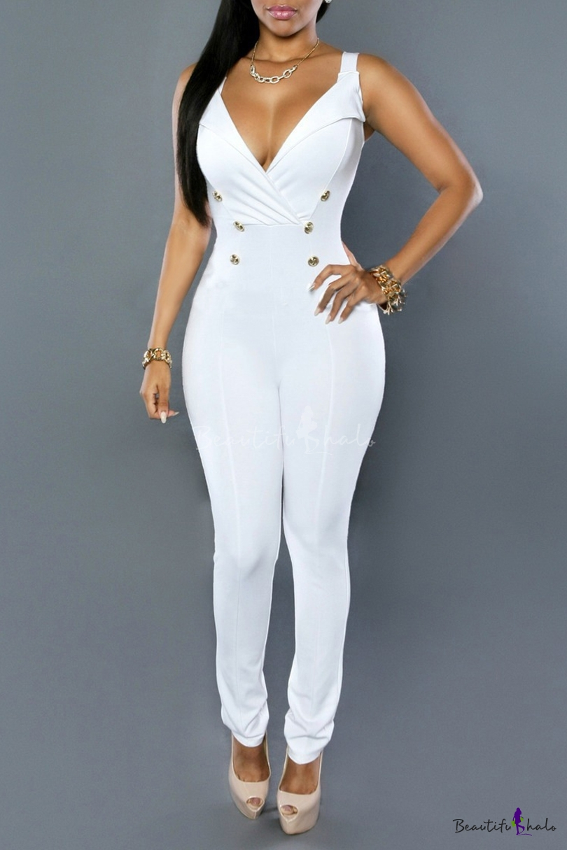 Buy Sexy V-Neck Straps Sleeveless Double Breasted Plain Jumpsuits