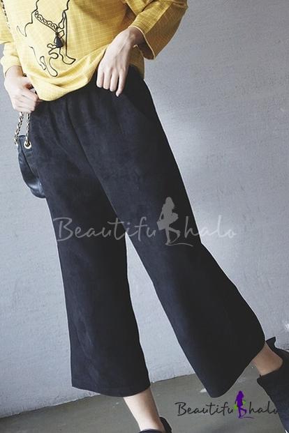 Buy Women's Elastic Waist Plain Casual Capri Pants Wide Leg