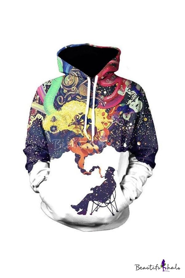Buy Unisex Drawstring Hooded 3D Printed Color Block Long Sleeve Hoodie Sweatshirt