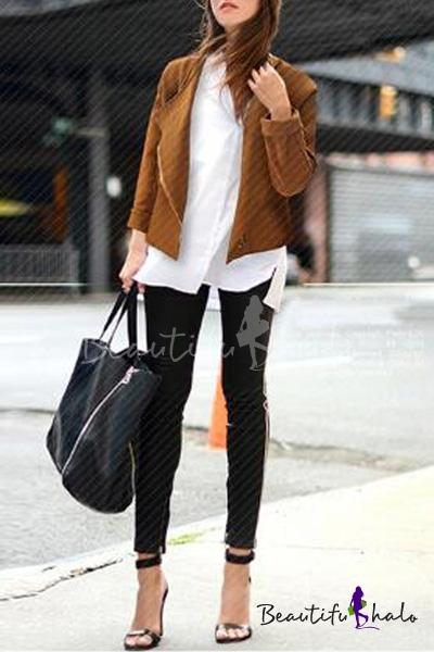 Buy Collarless Plain Zipper Long Sleeve Coat