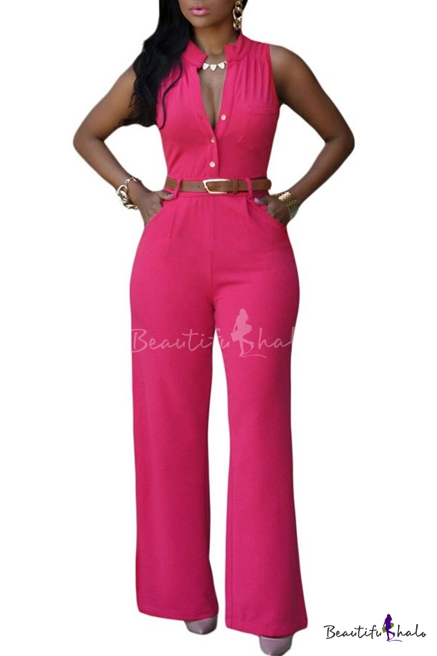 Buy Women's Jumpsuits Elegant Button Loose Long Wide Leg Romper