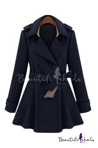 Buy Chic Elegant Notched Lapel Double Breasted Belt Waist Plain Long Sleeve Tunic Coat