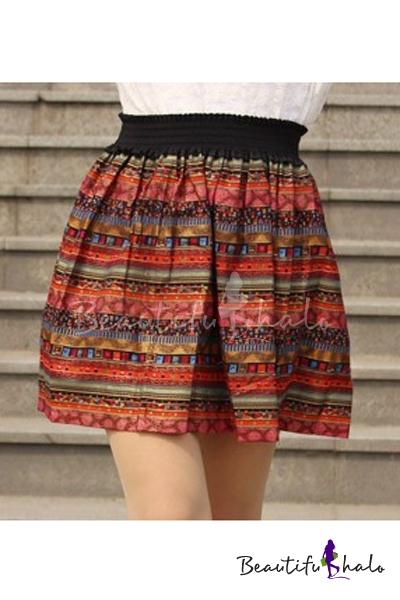 Buy Retro Elastic Waist Striped Tribal Printed Color Block Mini A-Line Skirt