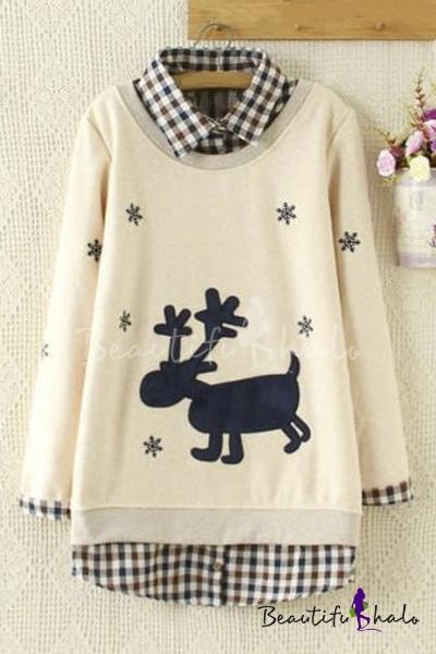 Buy Stylish Plaid Lapel Deer Snowflake Printed False Two-Piece Pullover Sweatshirt