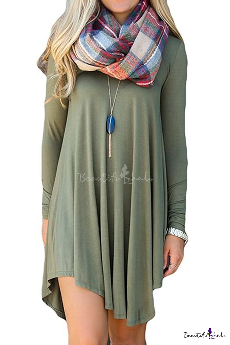Womenu0026#39;s Long Sleeve Casual Loose T-Shirt Dress Midi Tunics For Leggings - Beautifulhalo.com