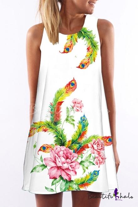 Buy Women Sleeveless 3D Printed Mini Floral Tunic One-Piece Shift Dress