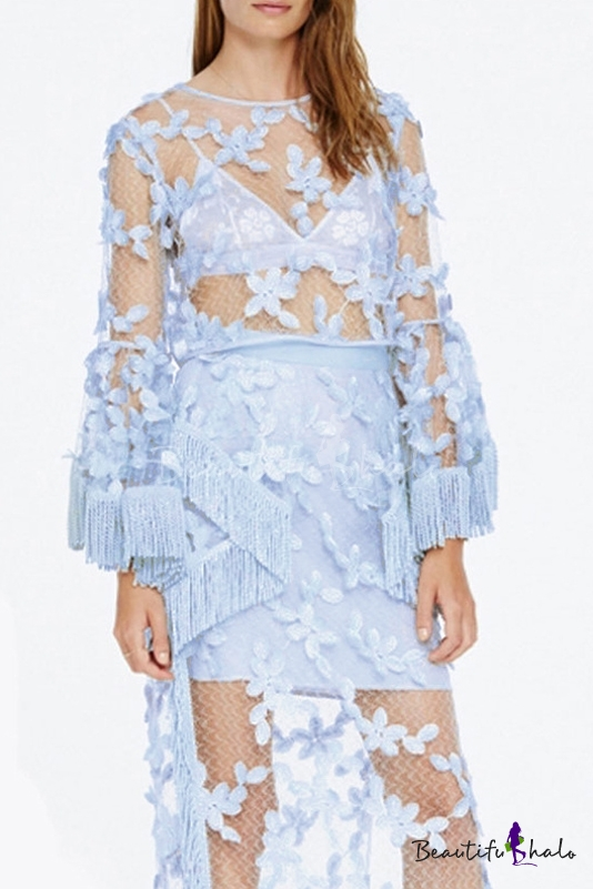 Buy Sexy Meshed Sheer Tassel Cuffs Bell Long Sleeve Lace Blouse Top