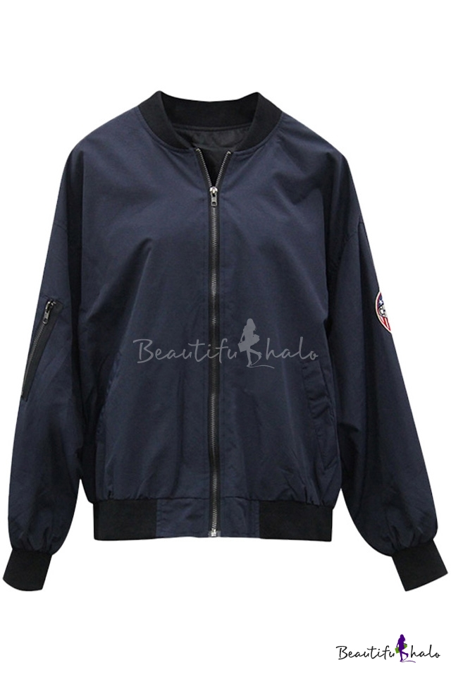 Buy Popular Stand-Up Collar Zipper Placket Embroidery Pattern Back Long Sleeve Bomber Jacket