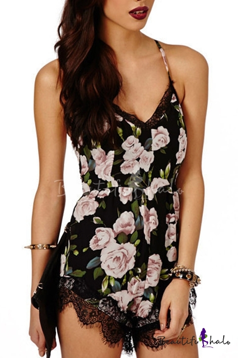 Buy Sexy V-Neck Sleeveless Crisscross Floral Printed Lace Patchwork Rompers