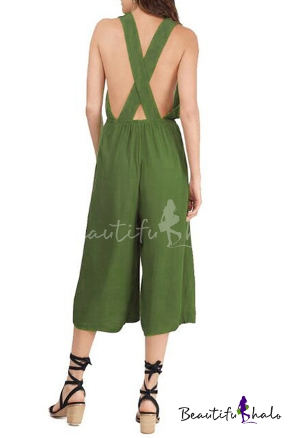 Buy Women's Summer Casual V-Neck Crisscross Back Sexy Plain Jumpsuits