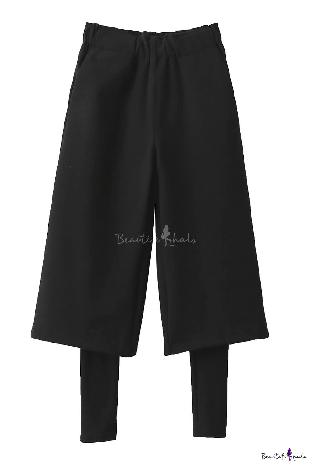 Buy Winter Elastic Waist False Two-Piece Wide Leg Pants