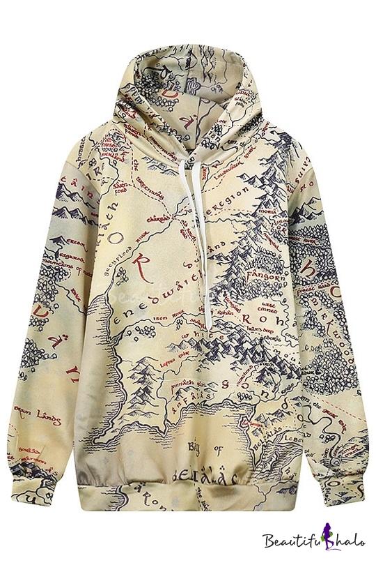 Buy Drawstring Hooded Map 3D Printed Long Sleeve Hoodie Sweatshirt