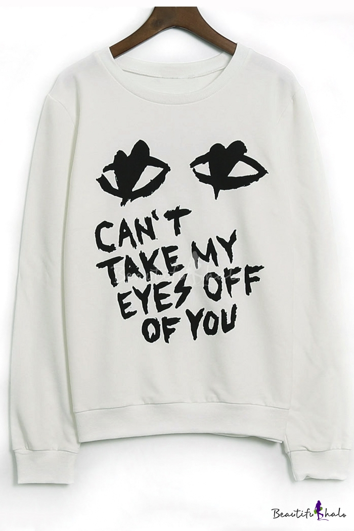 Buy Fashion Eyes Letter Printed Long Sleeve Graphic Pullover Sweatshirt