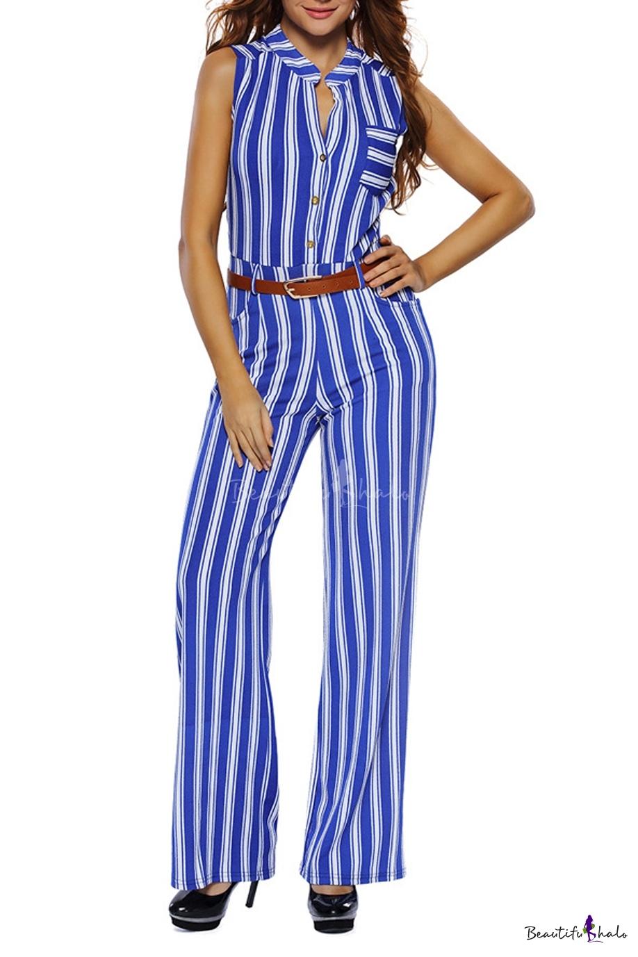 Buy Women's Striped Elegant Button Loose Long Wide Leg Jumpsuits Romper