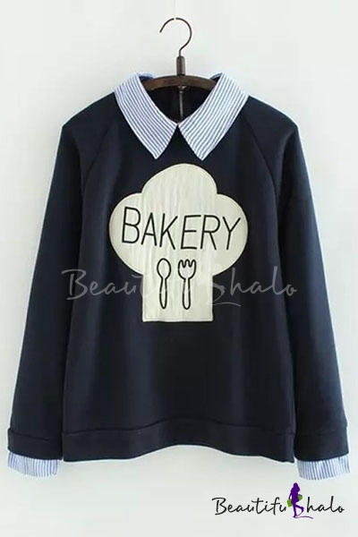 Buy Stylish Striped Lapel Cuffs Graphic Printed Raglan Sleeve False Two-Piece Pullover Sweatshirt