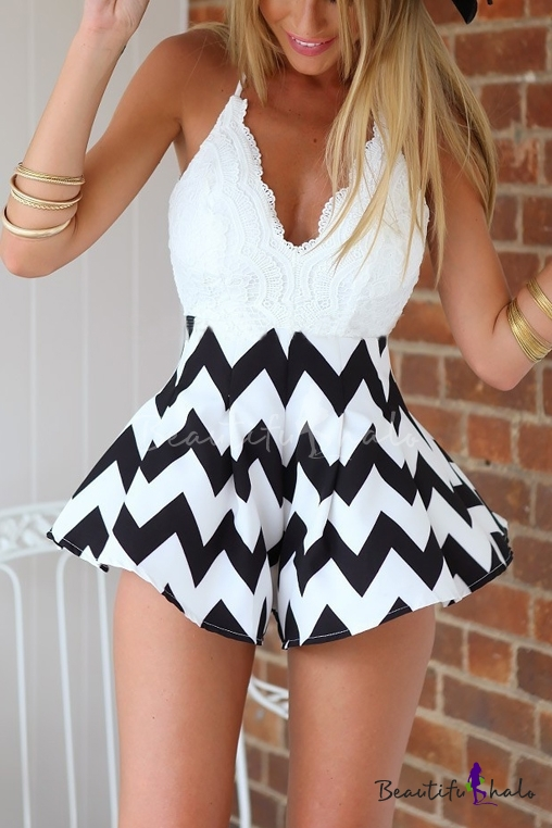 Buy Sexy V-Neck Crisscross Sleeveless Lace Patchwork Zig Zag Striped Printed Rompers