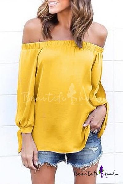 Buy Sexy Shoulder Split Long Sleeve Plain Blouse Top