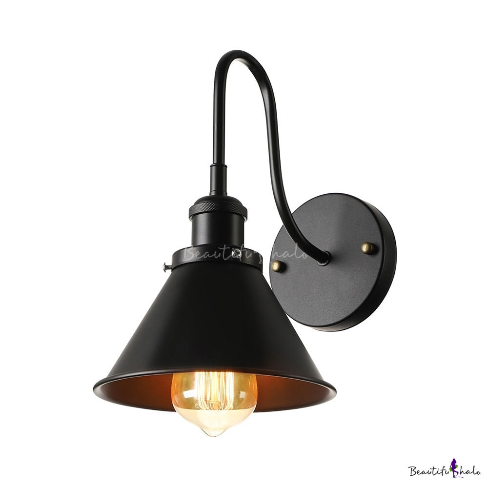 Gooseneck Wall Lights : Vintage Industrial Indoor Hallway Lighting Gooseneck Barn 1 Light Wall Light - Beautifulhalo.com