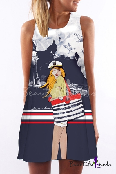 Buy Women Sleeveless Cartoon Printed Mini Tunic One-Piece Shift Dress
