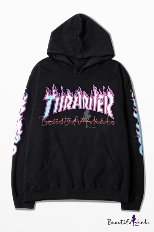 Buy Fashion Hooded Contrast THRARHER Letter Printed Couple Hoodie Sweatshirt